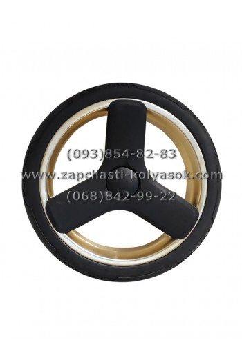 Колесо к детской коляске бескамерное (ненадувное) 12 дюймов черное с золотом