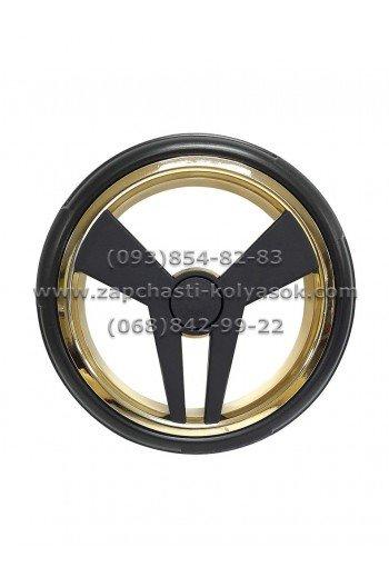 Колесо не надувное заднее 12 дюймов Junama Diamond черное с золотом с покрышкой Touring