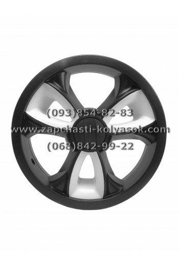 Диск заднего колеса 12 дюймов черный с белыми вставками к коляскам Adamex