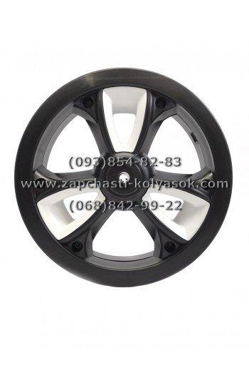 Диск переднего колеса 10 дюймов черный с белыми вставками к коляскам Adamex