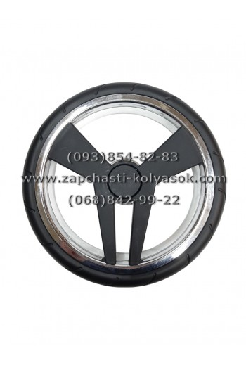 Колесо ненадувное гелевое заднее 12 дюймов Tako Junama. Черное с серебром